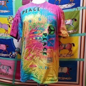 C Port And Company Peace Tye Dye T Shirt Size L
